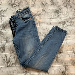 Blank NYC Lace Up Front Denim Skinny Jeans Blue